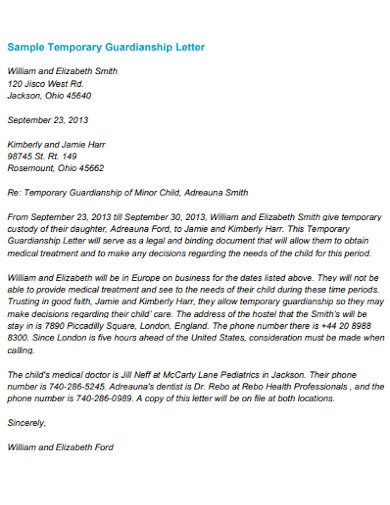 sample temporary guardianship letter example