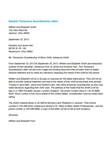 sample temporary guardianship letter examples