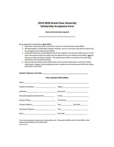 scholarship acceptance form example