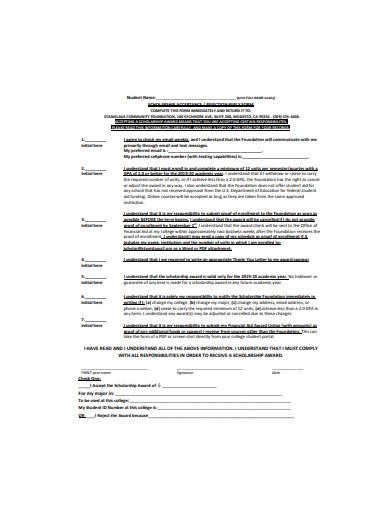 scholarship acceptance form