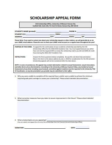 scholarship appeal form example