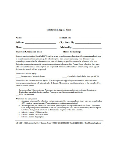 scholarship appeal form format