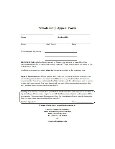 scholarship appeal form sample