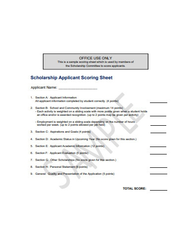 scholarship applicant scoring sheet