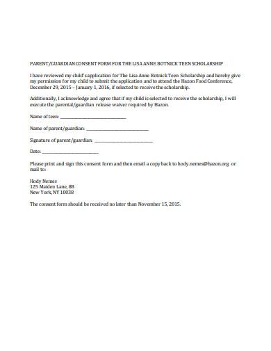scholarship application parental consent form