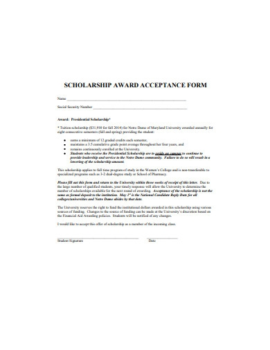 scholarship award acceptance form