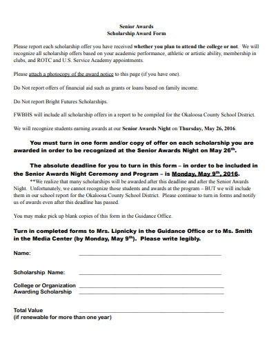 scholarship award form example