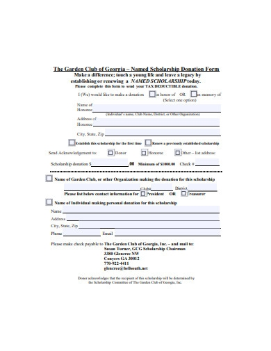 scholarship donation form sample