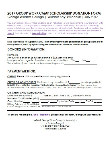 scholarship donation form in doc