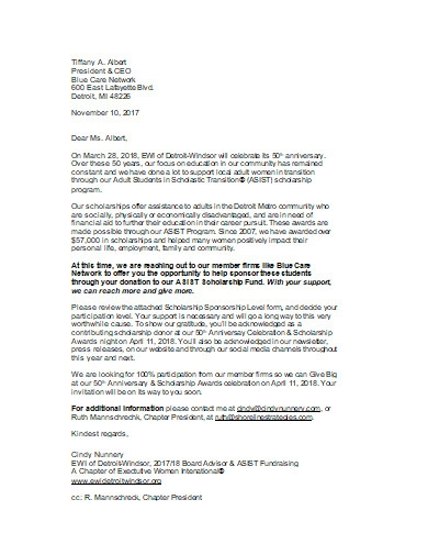 scholarship donation request letter in doc