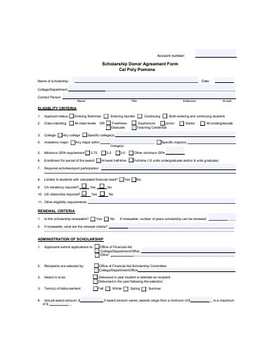 scholarship donor agreement form