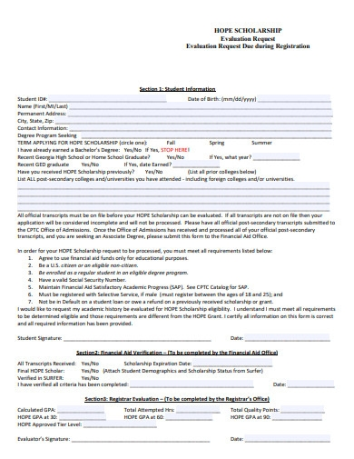 scholarship evaluation request form