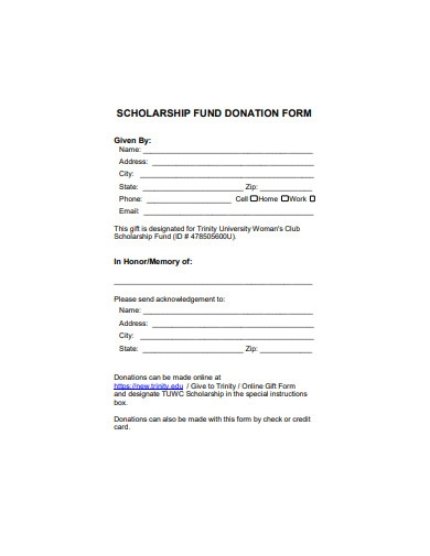 scholarship fund donation form sample
