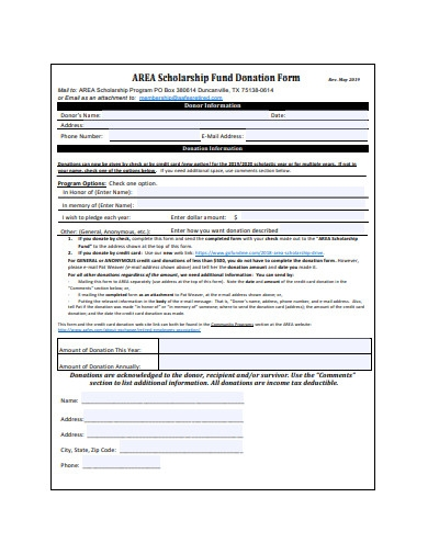 scholarship fund donation form