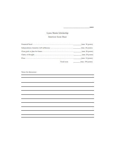 scholarship interview score sheet