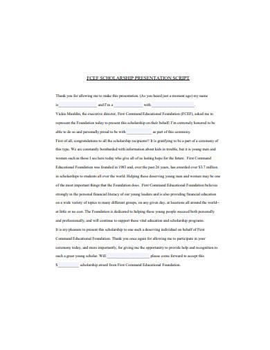 scholarship presentation example