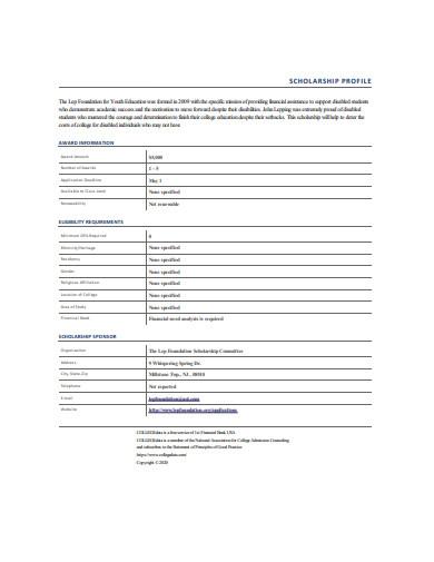 scholarship profile format