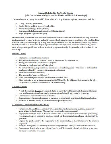 scholarship profile sample