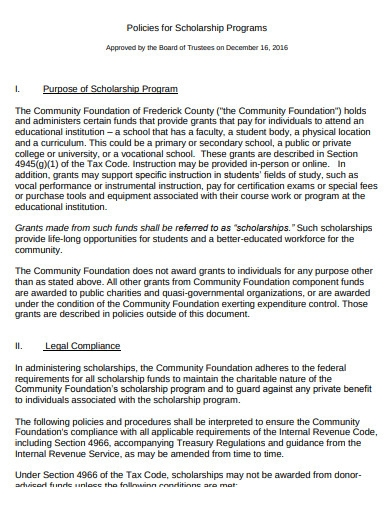 scholarship programs policy example