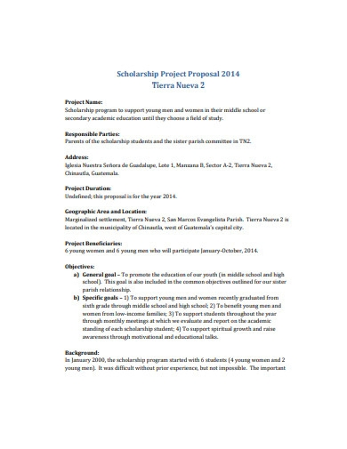 scholarship project proposal format
