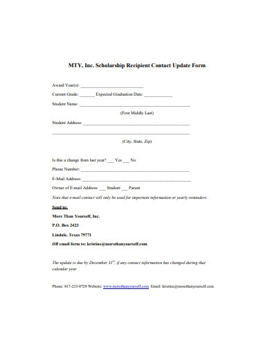 scholarship recipient contact update form