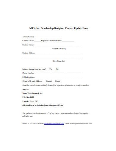 scholarship recipient contact update form