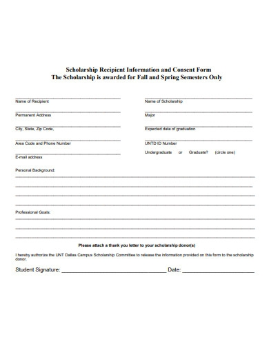 scholarship recipient information and consent form