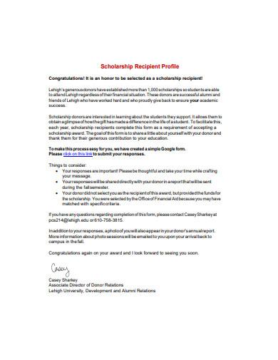 scholarship recipient profile example