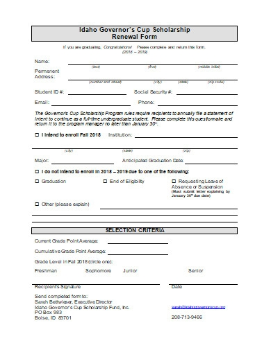 scholarship renewal form in doc