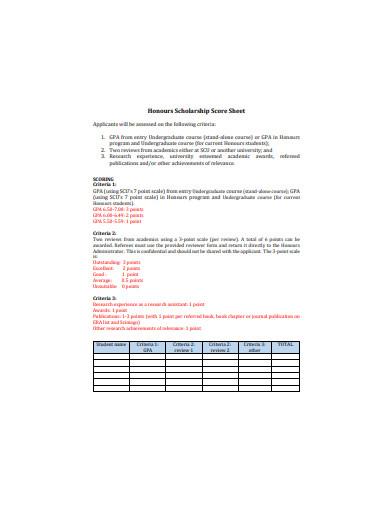 scholarship score sheet example