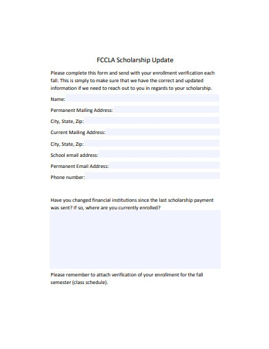scholarship update form example