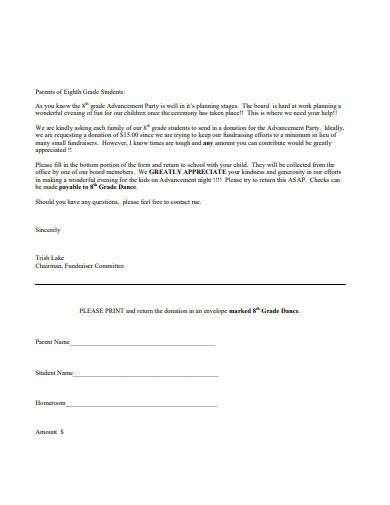 school 8th grade parent donation letter