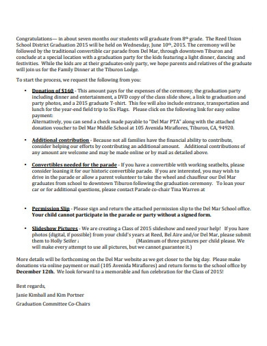 school graduation donation letter