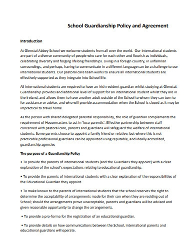 school guardianship policy and agreement
