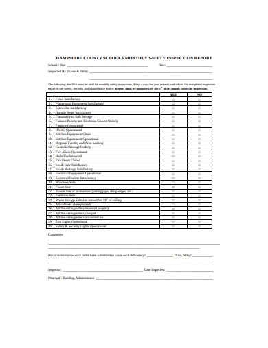 school monthly safety inspection report template