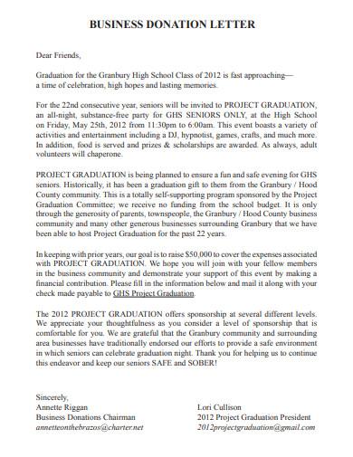 school project graduation donation letter