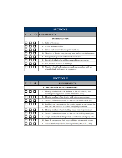 school safety and security plan review checklist