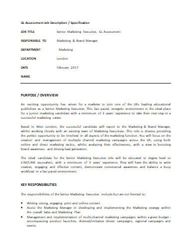 senior marketing executive job description example