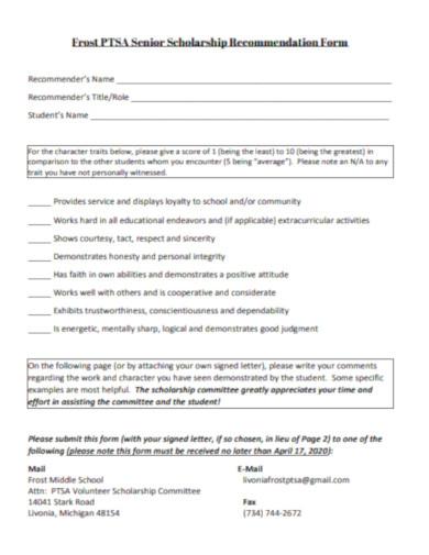 senior scholarship recommendation form