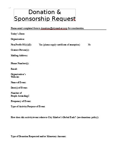 simple donation request form example