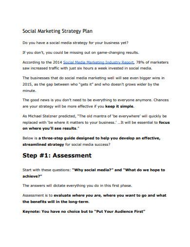 social media marketing strategy plan sample