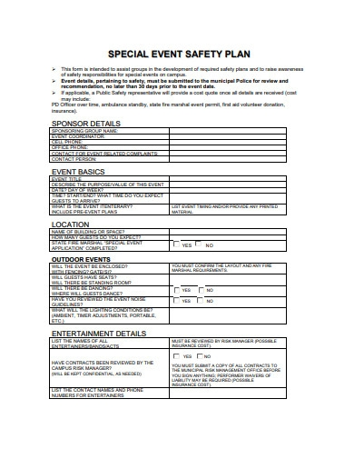 special event safety plan