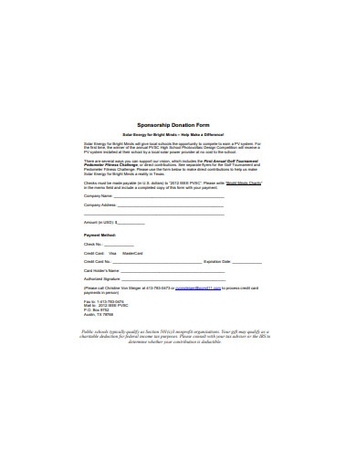sponsorship donation form