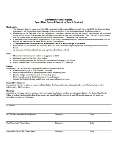 sport club council executive board contract