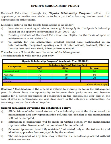sports scholarship policy