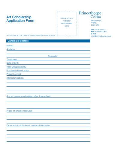 standard art scholarship application form example