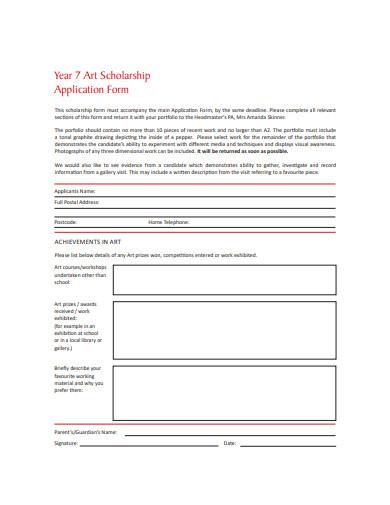 standard art scholarship application form