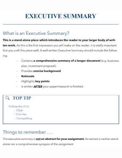 standard executive summary