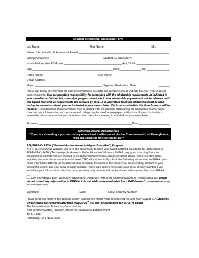 student scholarship acceptance form