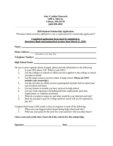 student scholarship application example